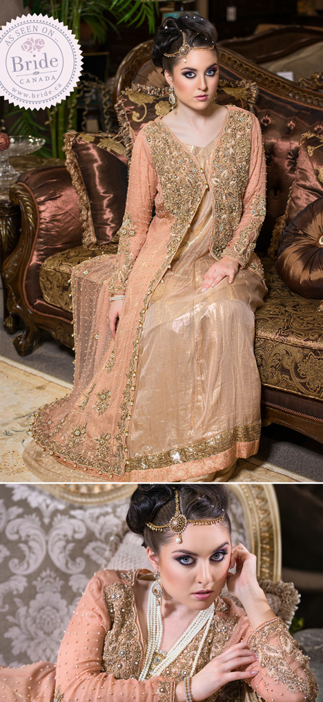 model as pakistani bride wearing a peach and gold lehanga
