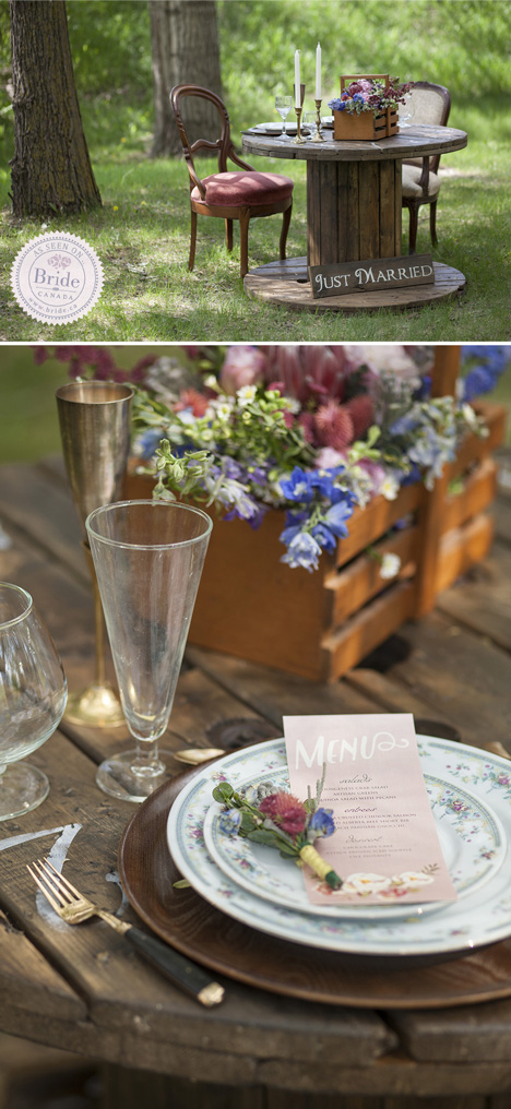 sweetheart table outdoor wedding reception rustic theme