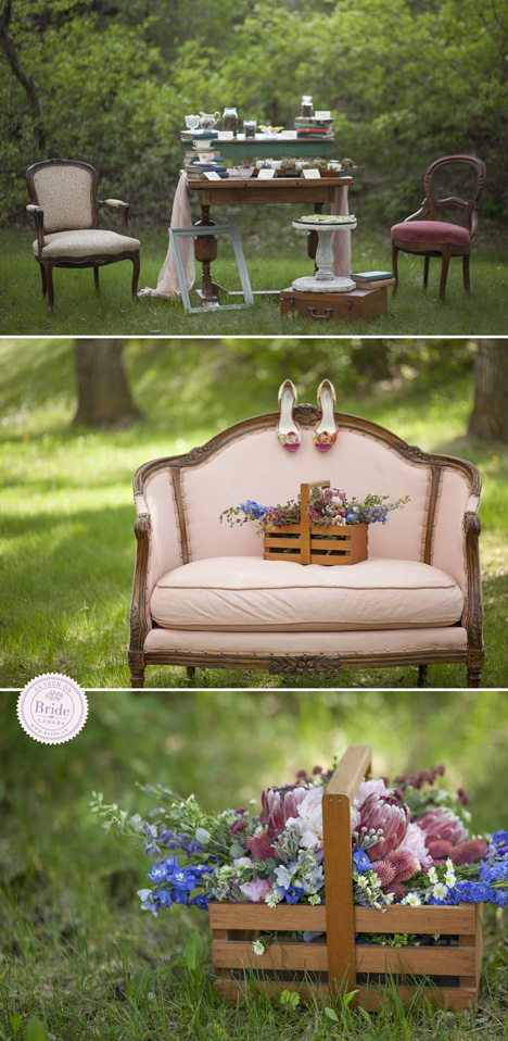 outdoor wedding reception country rustic theme pinks blues and wildflowers