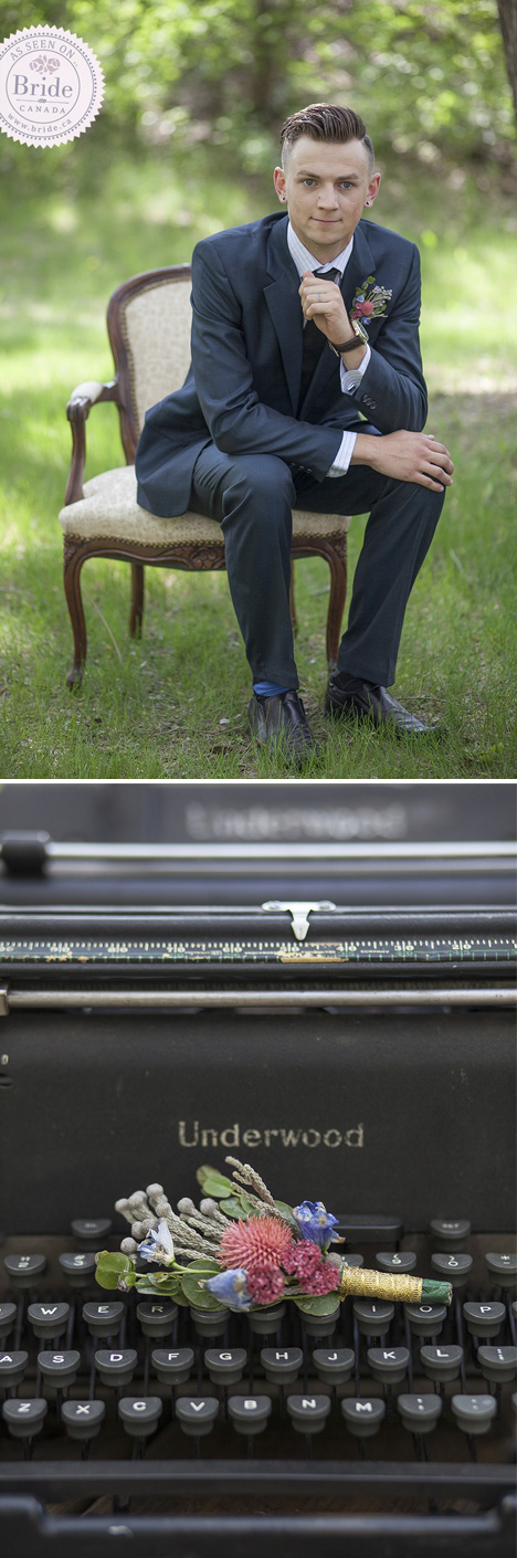 Groom sitting on chair and closeup of country inspired boutonniere