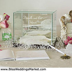 Engraved glass wedding moneybox