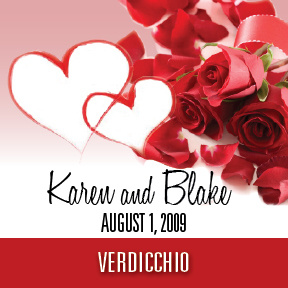 Karen & Blake's custom wedding wine label
