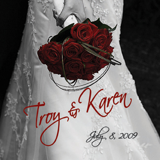 Troy & Karen's personalized wedding wine bottle label