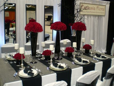 Black and white wedding reception decor