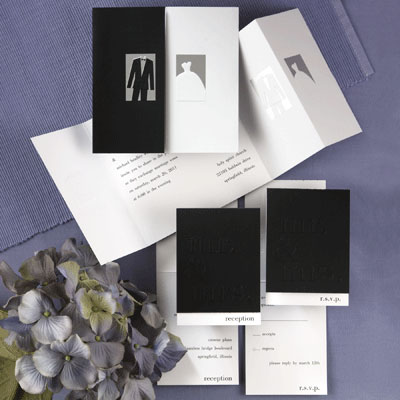 Black  White Wedding Decorations on Black White Wedding Invitation Kits On Moder Black White Wedding