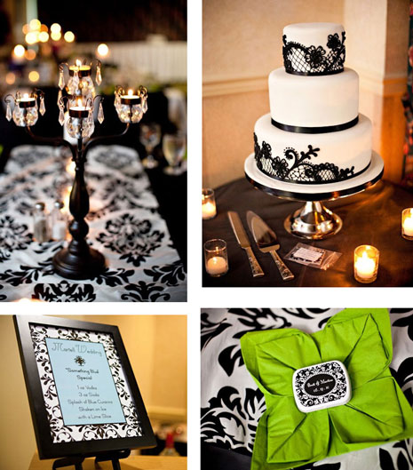 green black and white wedding ideas. Black amp; White damask theme