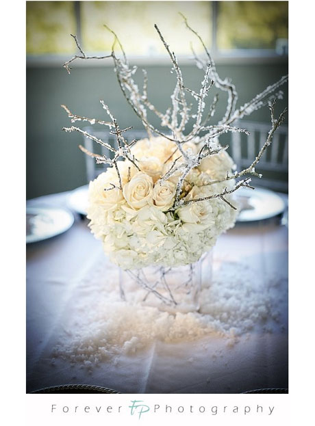 Winter Wedding Silver White floral centerpiece