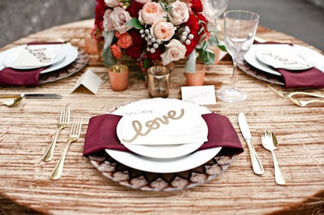 marsala-themed wedding table settings