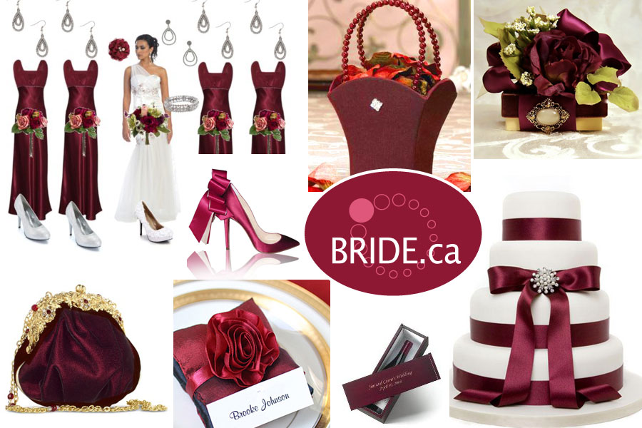 Rich burgundy colours for a winter wedding
