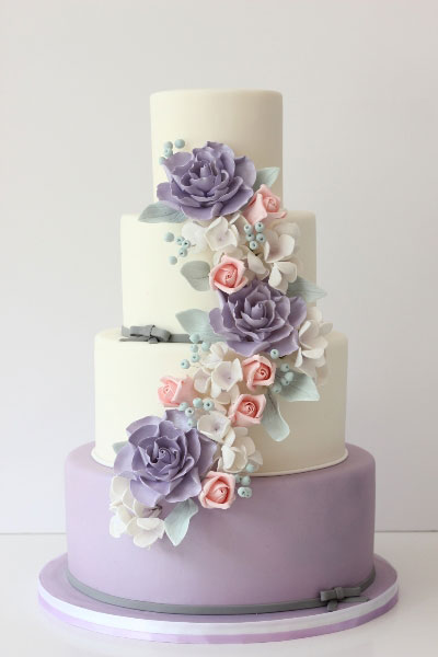 spring-themed, wedding cake