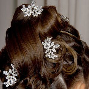 Hair sticks in bridal updo