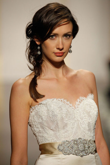 Side Braid over a Gorgeous Lazaro Wedding Gown
