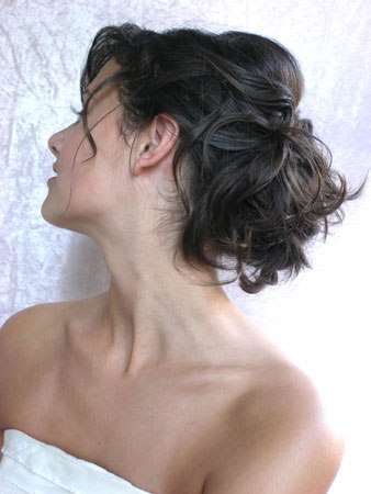 Wedding Hairstyle Veil Flower on Messy Updo Bridal Hairstyle