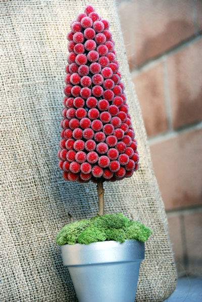 A red topiary makes the perfect winter-theme wedding centrepiece