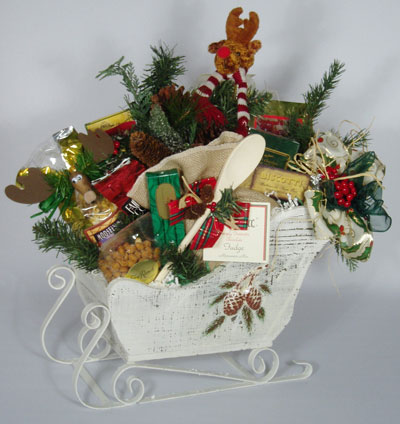 Sleigh-shaped, winter gift basket - take -home centerpirce?