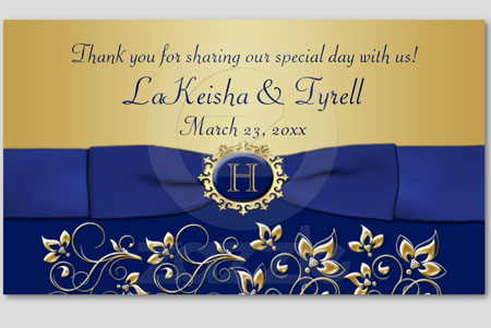 Monogrammed, blue & gold wedding thank you card stationary