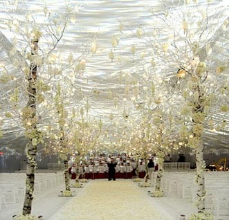 Indoor winter wonderland wedding reception