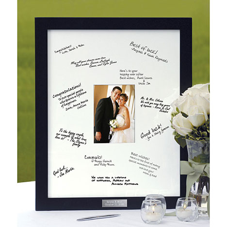 You can make your own guest book photo frame by mounting an