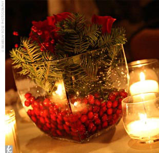 DIY winter wedding centrepiece