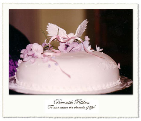 Dove-ribbon wedding cake by Helena, in Toronto