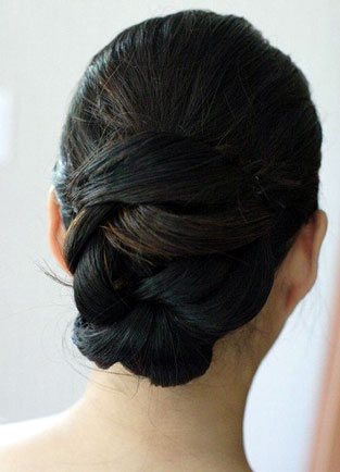 Low Plaited Bun by Beauty-a-Go-Go in Vancouver. Hairstyle by Beauty-a-Go-Go,