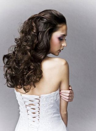 Long and curly bridal hair style by BeautyAGoGo in