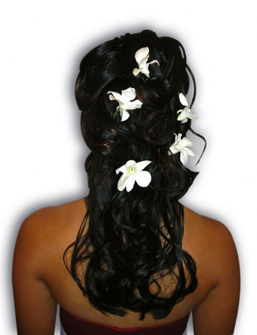 Hairstyle by Beauty-a-Go-Go, Vancouver. Flowers scattered in the back of the