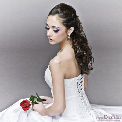 half up half down hairstyles for long hair. Half-Up bridal hairstyle by