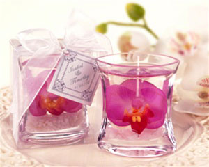 Orchid gel candle, spring wedding favour
