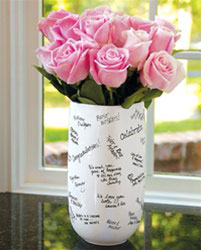 signature vase, spring wedding centrepiece