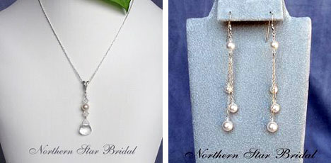 Necklesses and earings suited to halter wedding dresses