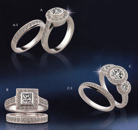 elaborate diamond rings